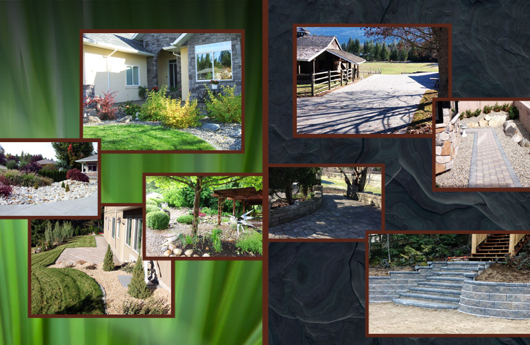 Collage of hard and soft landscaping photos